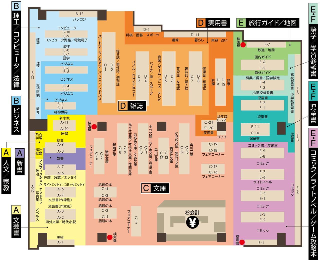 有隣堂グランデュオ蒲田店・店内地図