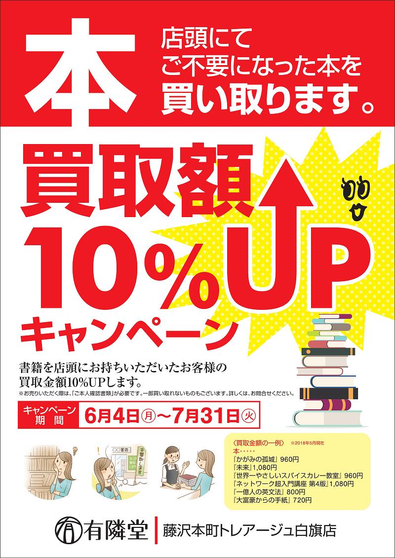 本 買取額10%UPキャンペーン!
