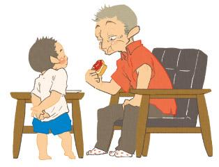 おじいちゃんとちびすけのイラスト