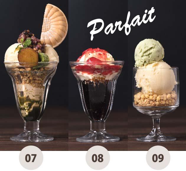 ジャポネアラモード、苺ミルクのコーヒーゼリー、季節のダブルアイスクリーム