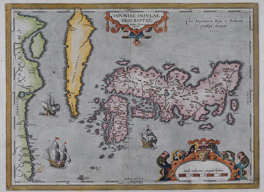 テイセラ「日本図」1595年版 銅版(オルテリウス『地球の舞台』掲載)